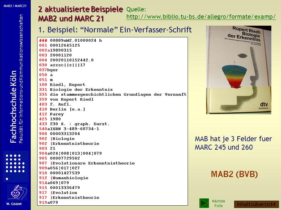 2 aktualisierte Beispiele MAB2 und MARC 21