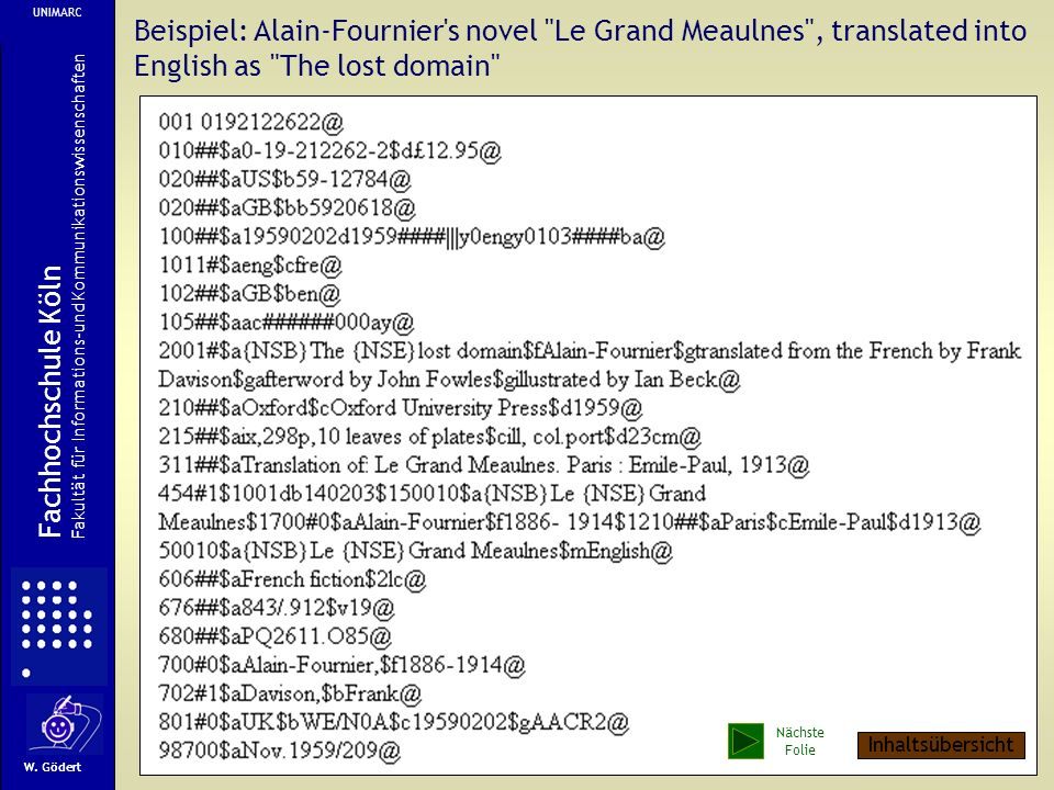 UNIMARC Beispiel: Alain-Fournier s novel Le Grand Meaulnes , translated into English as The lost domain