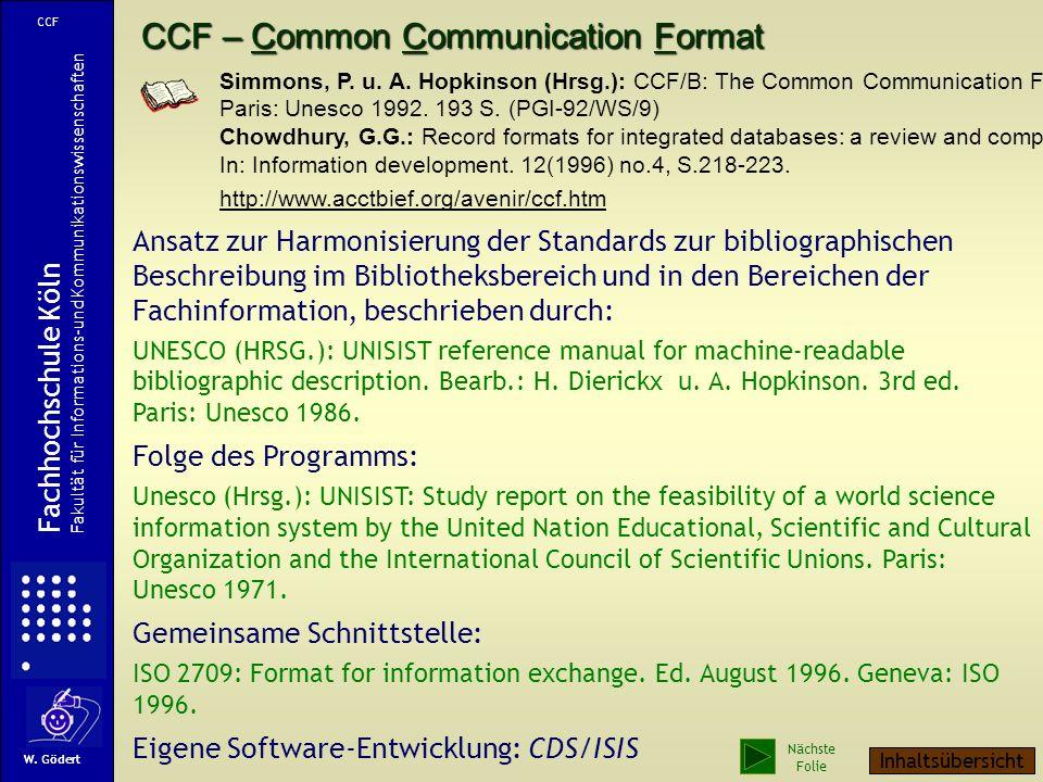 CCF – Common Communication Format