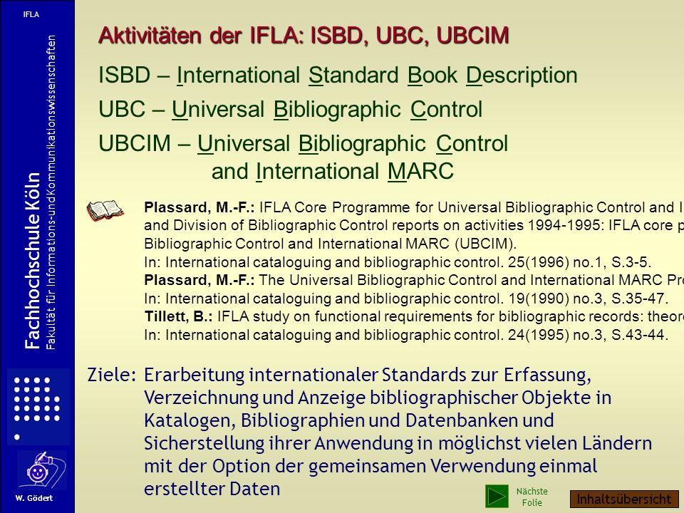 Aktivitäten der IFLA: ISBD, UBC, UBCIM