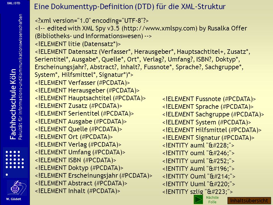 Eine Dokumenttyp-Definition (DTD) für die XML-Struktur