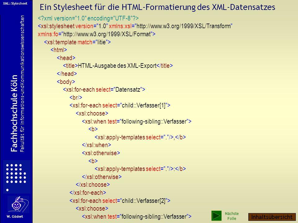 Ein Stylesheet für die HTML-Formatierung des XML-Datensatzes