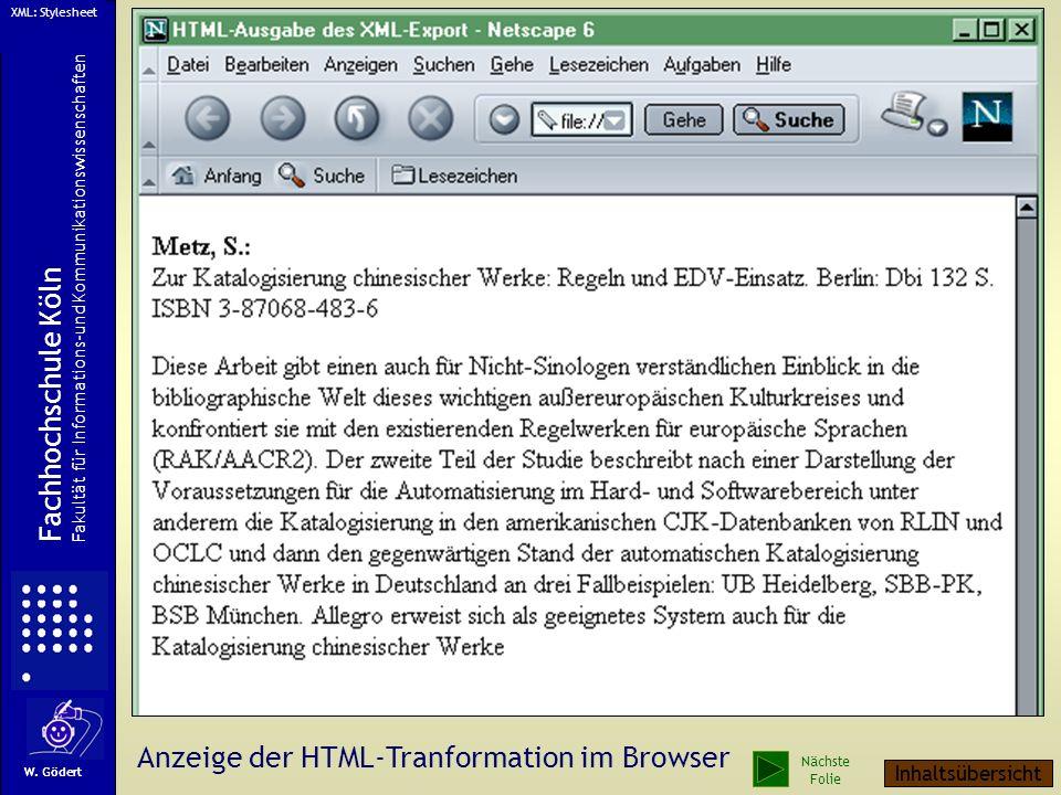 Anzeige der HTML-Tranformation im Browser