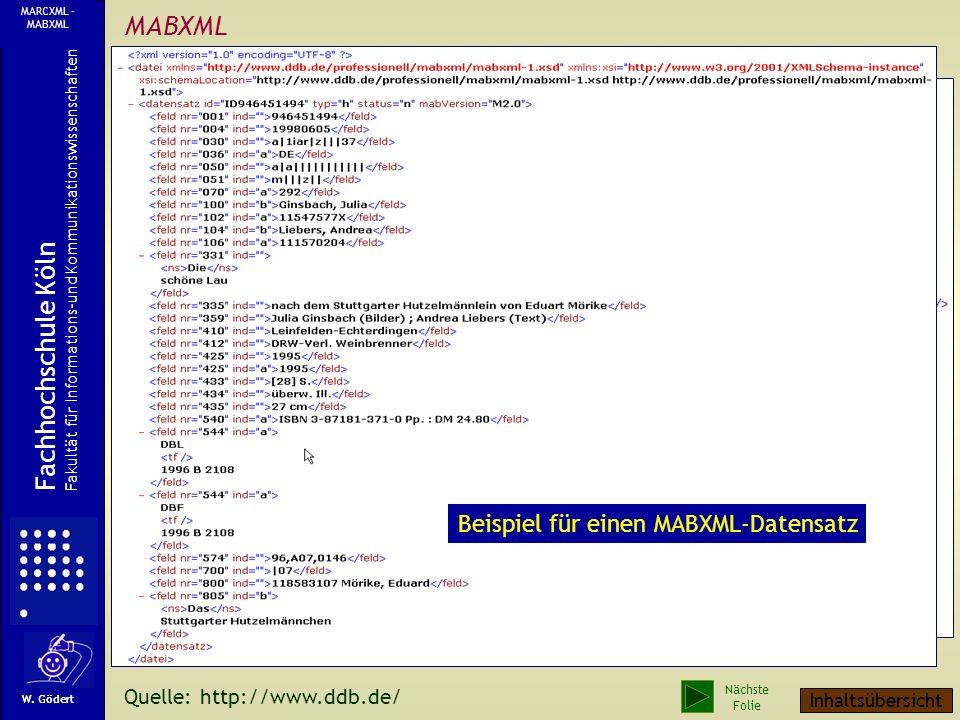MABXML Fachhochschule Köln Beispiel für einen MABXML-Datensatz
