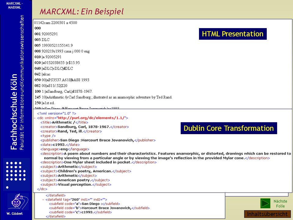 MARCXML: Ein Beispiel Fachhochschule Köln HTML Presentation