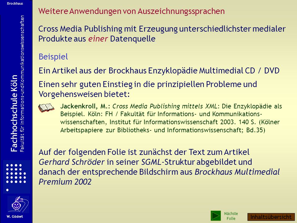 Weitere Anwendungen von Auszeichnungssprachen