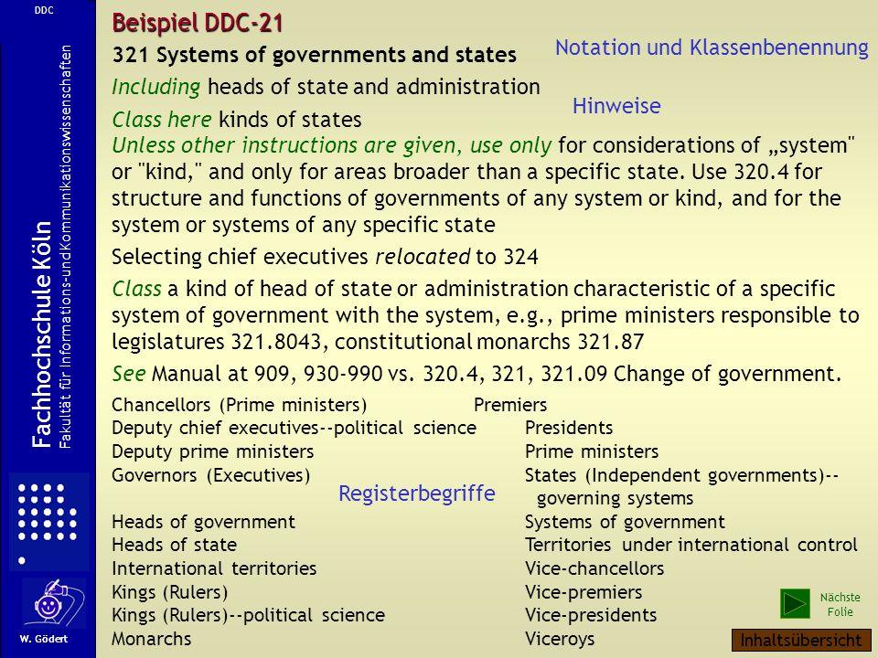 Beispiel DDC-21 Fachhochschule Köln Notation und Klassenbenennung