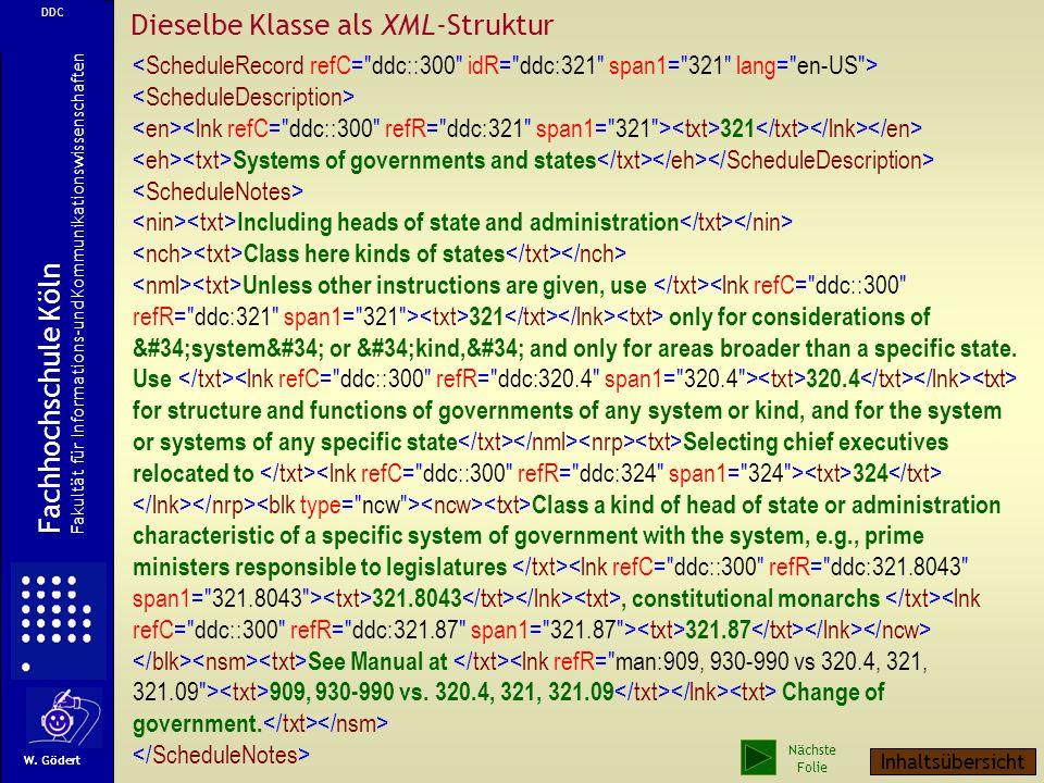 Dieselbe Klasse als XML-Struktur
