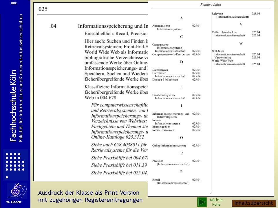 Fachhochschule Köln Ausdruck der Klasse als Print-Version