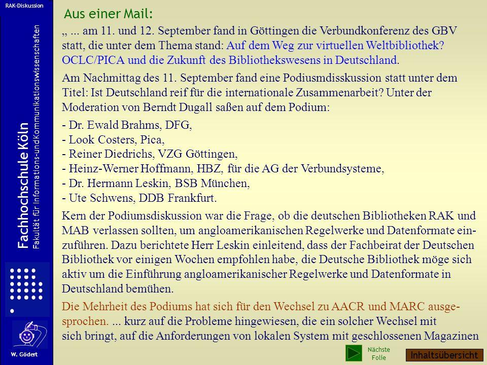 Aus einer Mail: Fachhochschule Köln