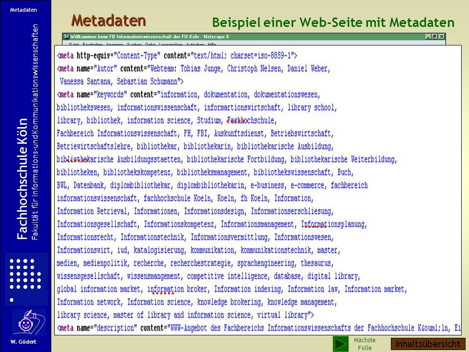Metadaten Beispiel einer Web-Seite mit Metadaten Fachhochschule Köln