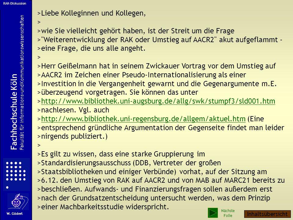 Fachhochschule Köln >Liebe Kolleginnen und Kollegen, >