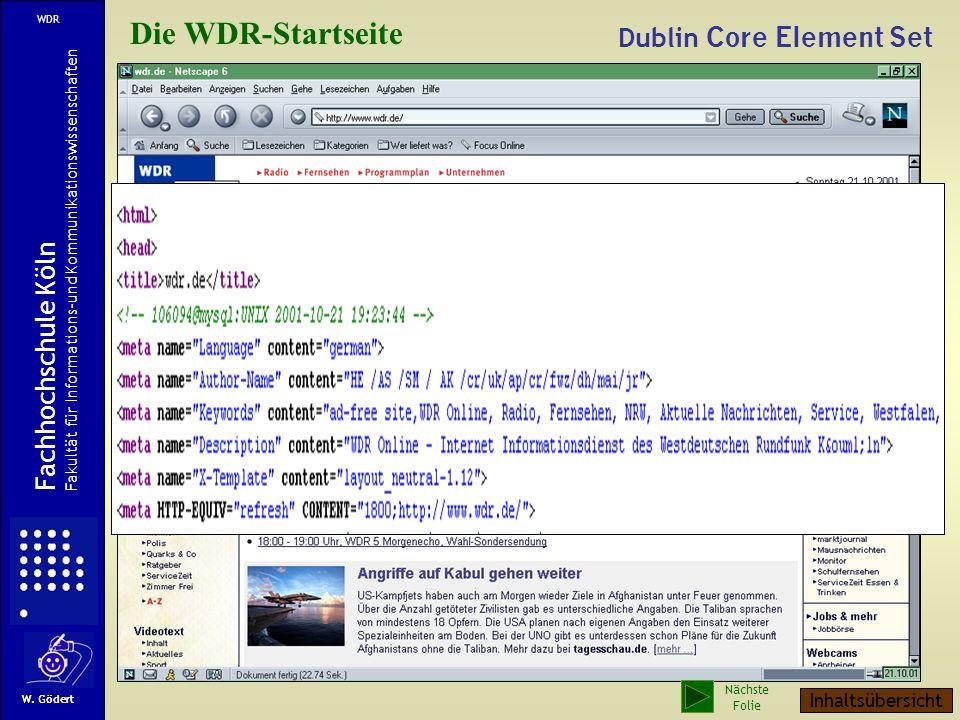 Die WDR-Startseite Dublin Core Element Set Fachhochschule Köln