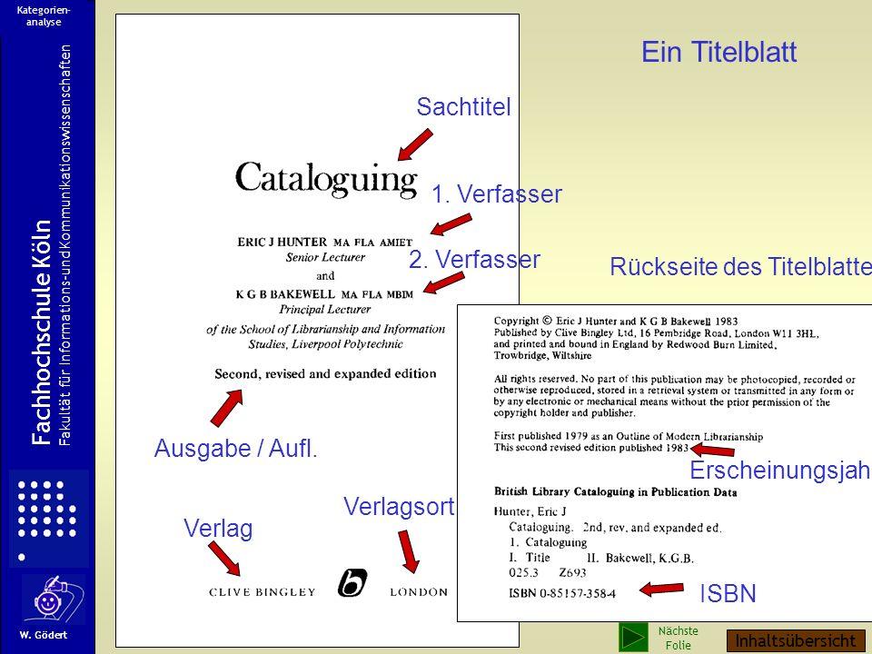 Ein Titelblatt Sachtitel 1. Verfasser Fachhochschule Köln 2. Verfasser