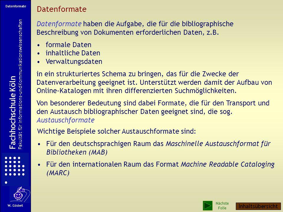 Datenformate Fachhochschule Köln Fachhochschule Köln