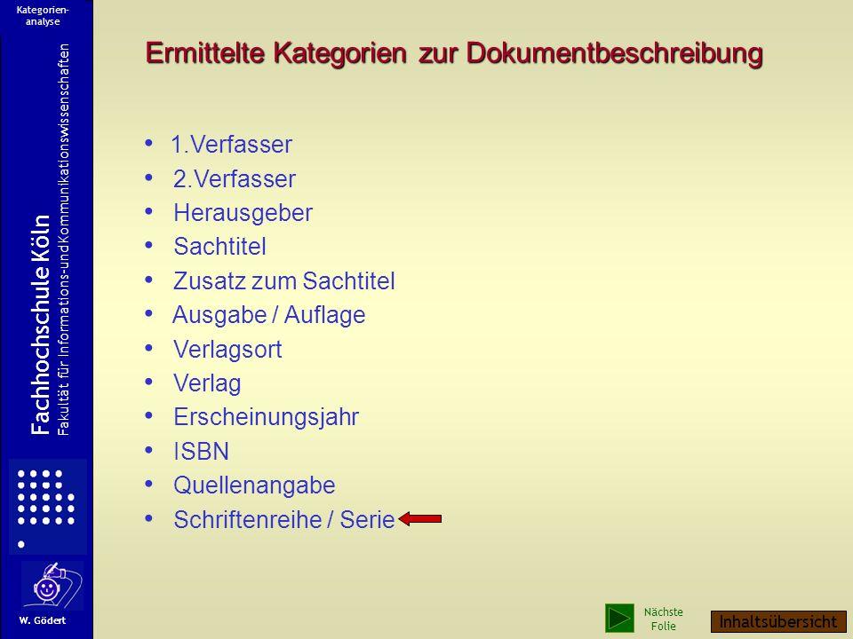Ermittelte Kategorien zur Dokumentbeschreibung