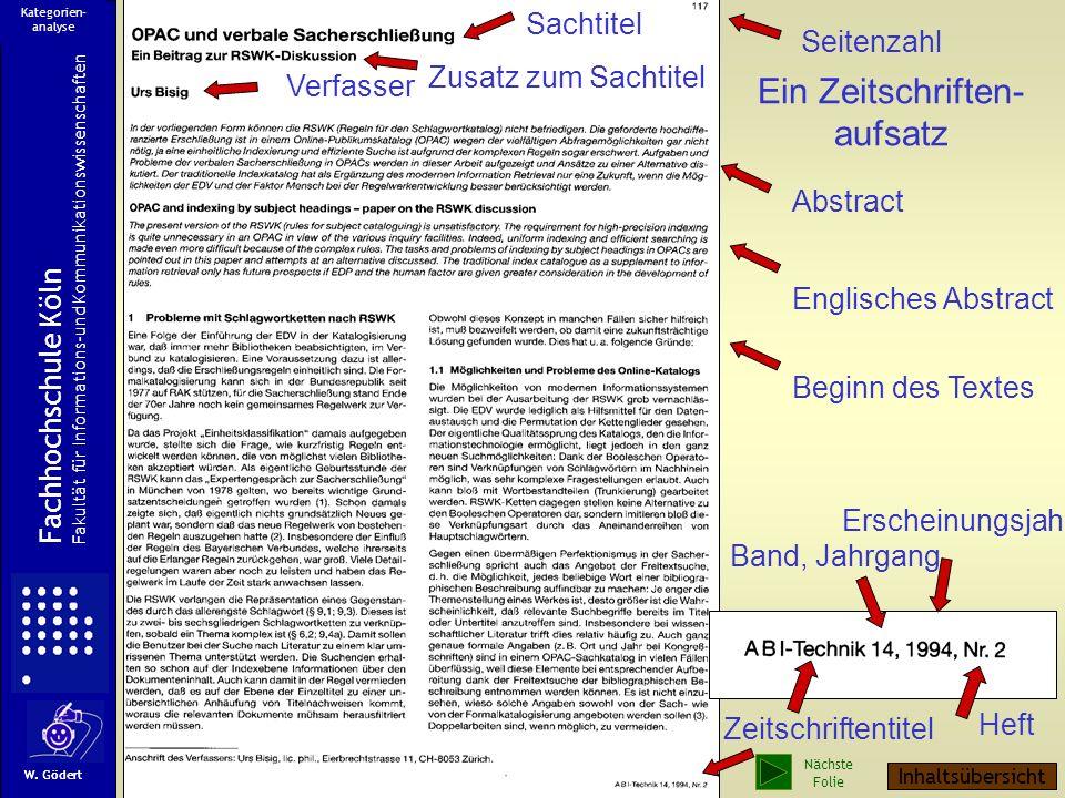 Ein Zeitschriften- aufsatz Sachtitel Seitenzahl Zusatz zum Sachtitel