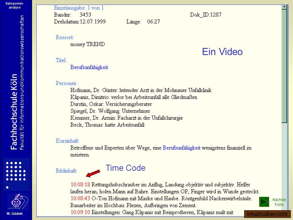 Ein Video Fachhochschule Köln Time Code Inhaltsübersicht