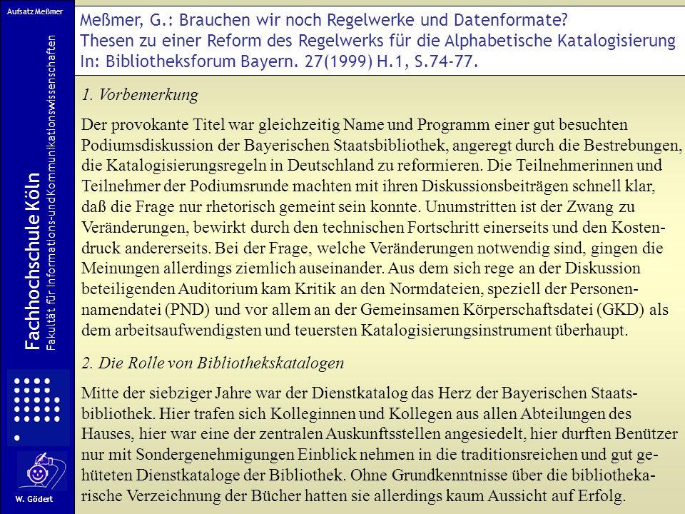 Aufsatz Meßmer Meßmer, G.: Brauchen wir noch Regelwerke und Datenformate