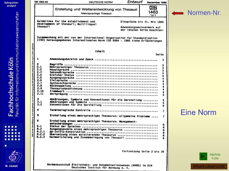 Eine Norm Normen-Nr. Fachhochschule Köln Inhaltsübersicht