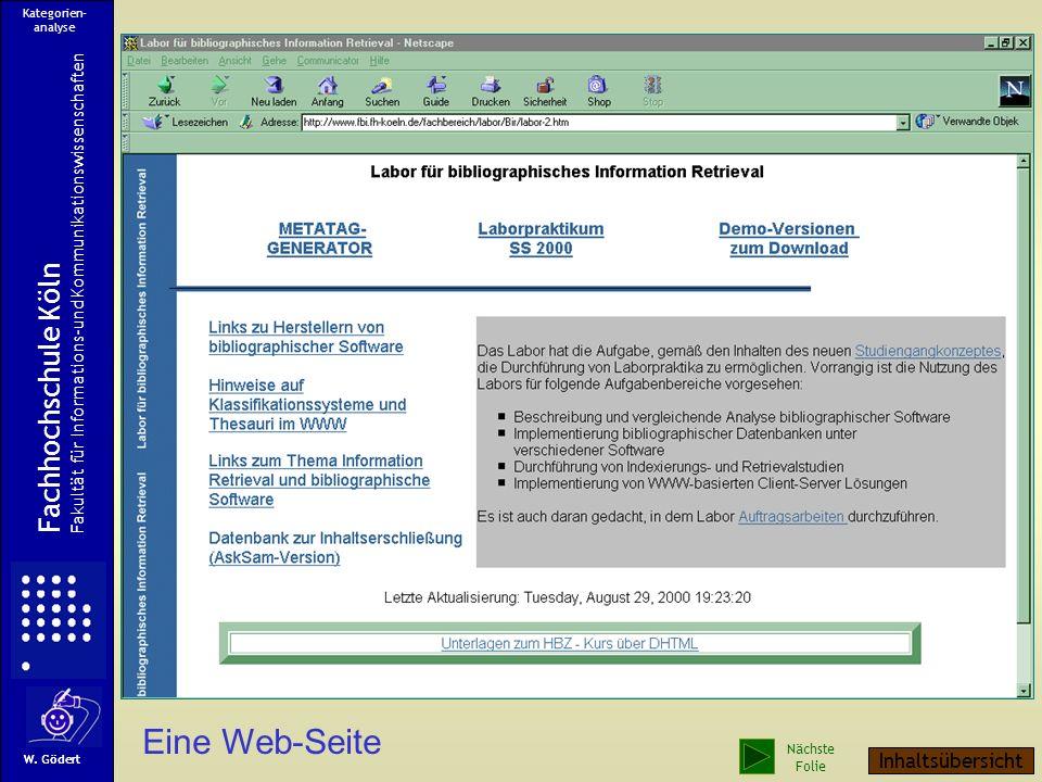 Eine Web-Seite Fachhochschule Köln Inhaltsübersicht
