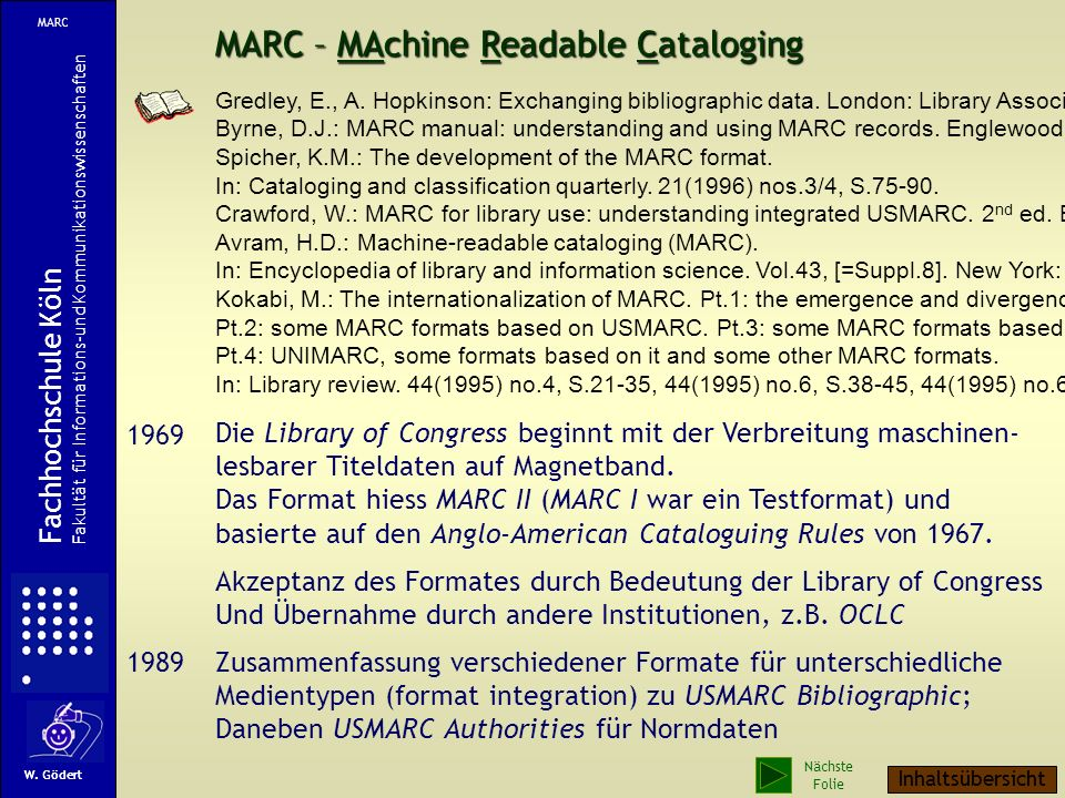 MARC – MAchine Readable Cataloging