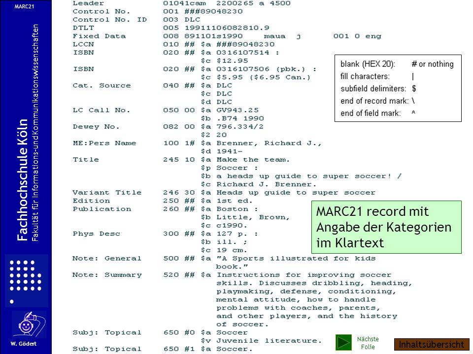 MARC21 record mit Angabe der Kategorien im Klartext