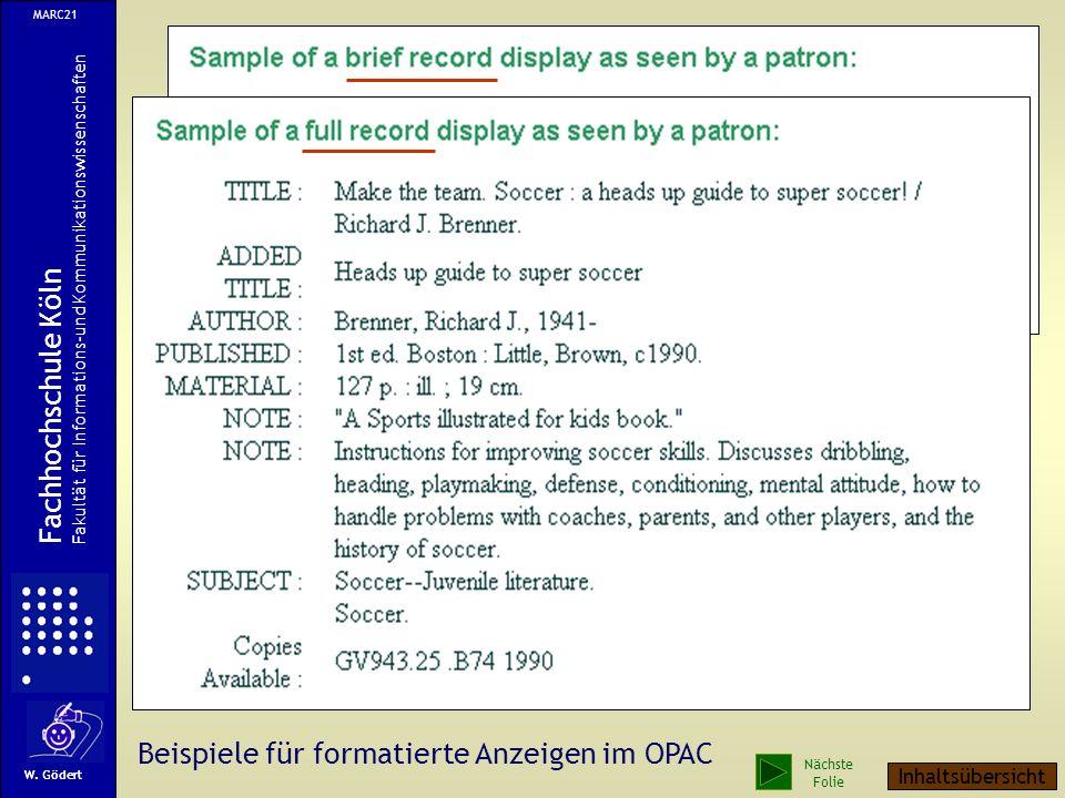 Beispiele für formatierte Anzeigen im OPAC