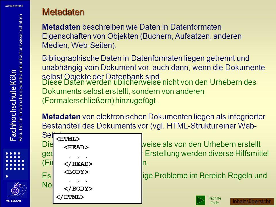 Metadaten II Metadaten.