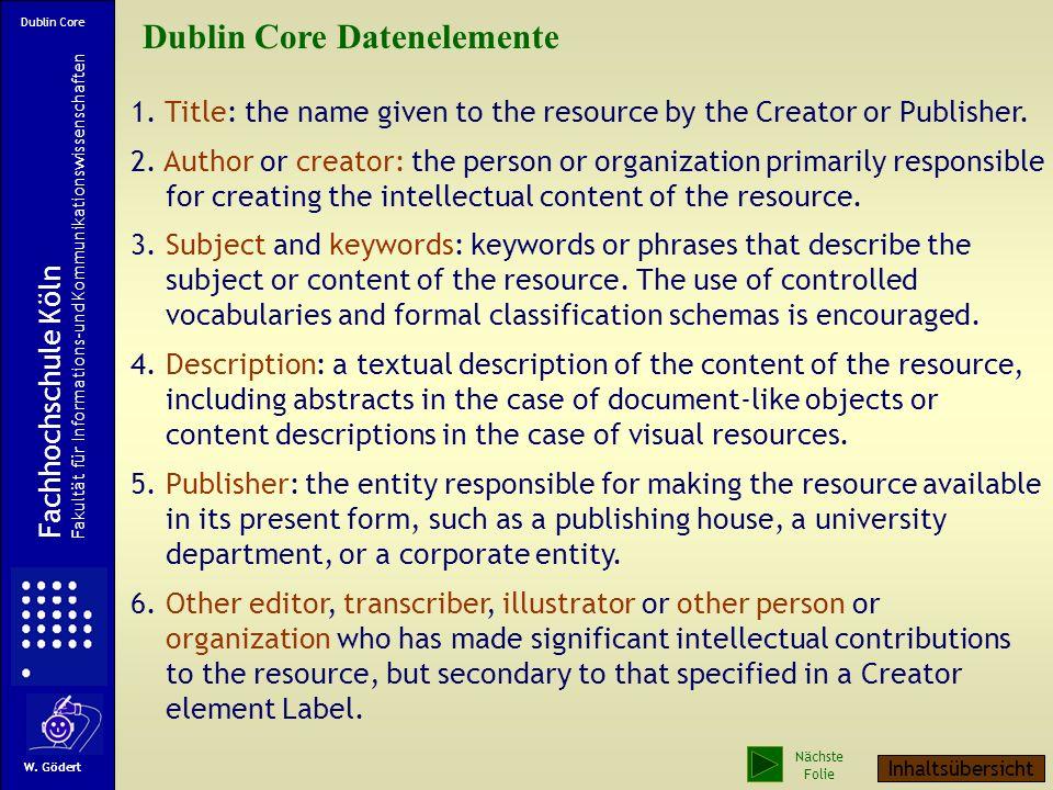 Dublin Core Datenelemente
