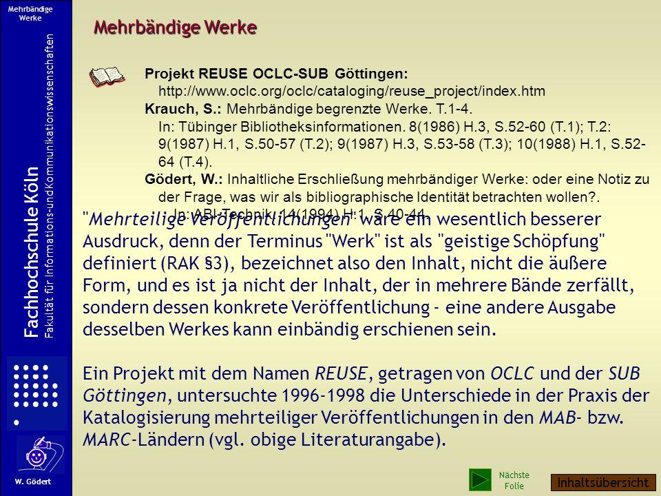 Mehrbändige Werke Fachhochschule Köln