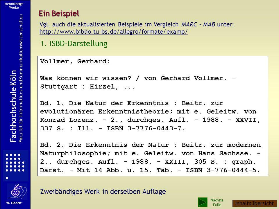 Ein Beispiel 1. ISBD-Darstellung Fachhochschule Köln Vollmer, Gerhard: