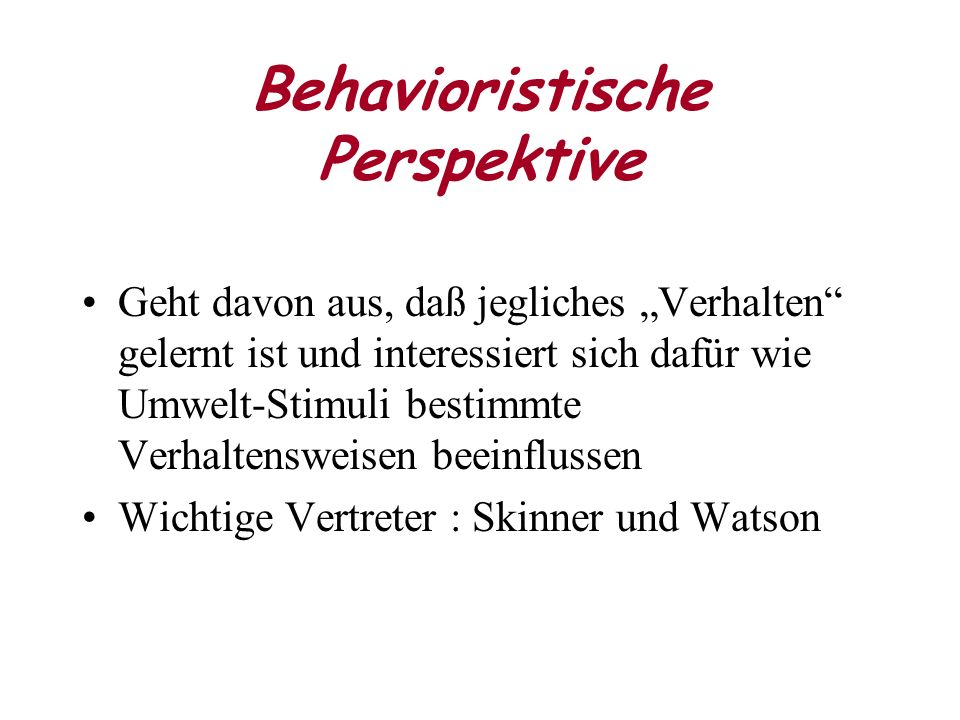 Behavioristische Perspektive