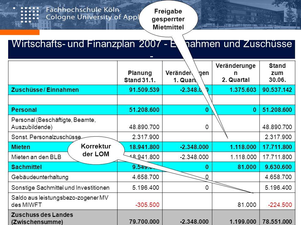 Wirtschafts- und Finanzplan 2007 - Einnahmen und Zuschüsse -