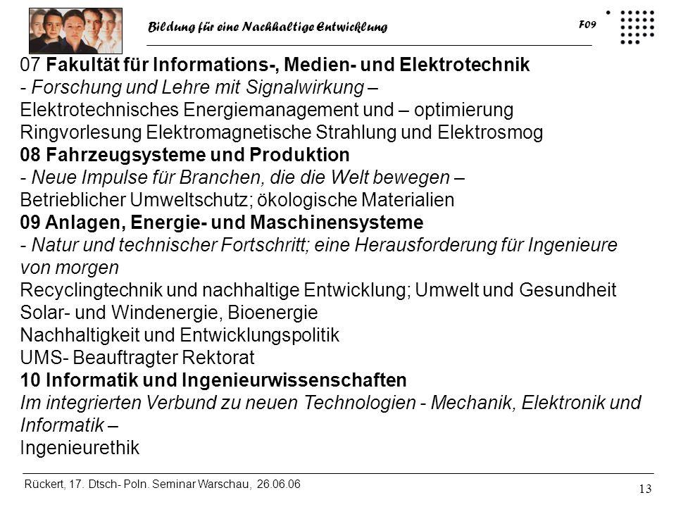 07 Fakultät für Informations-, Medien- und Elektrotechnik - Forschung und Lehre mit Signalwirkung –