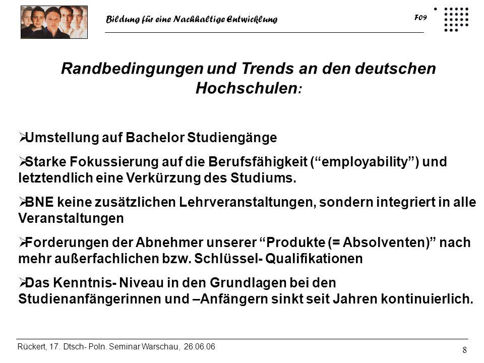 Randbedingungen und Trends an den deutschen Hochschulen:
