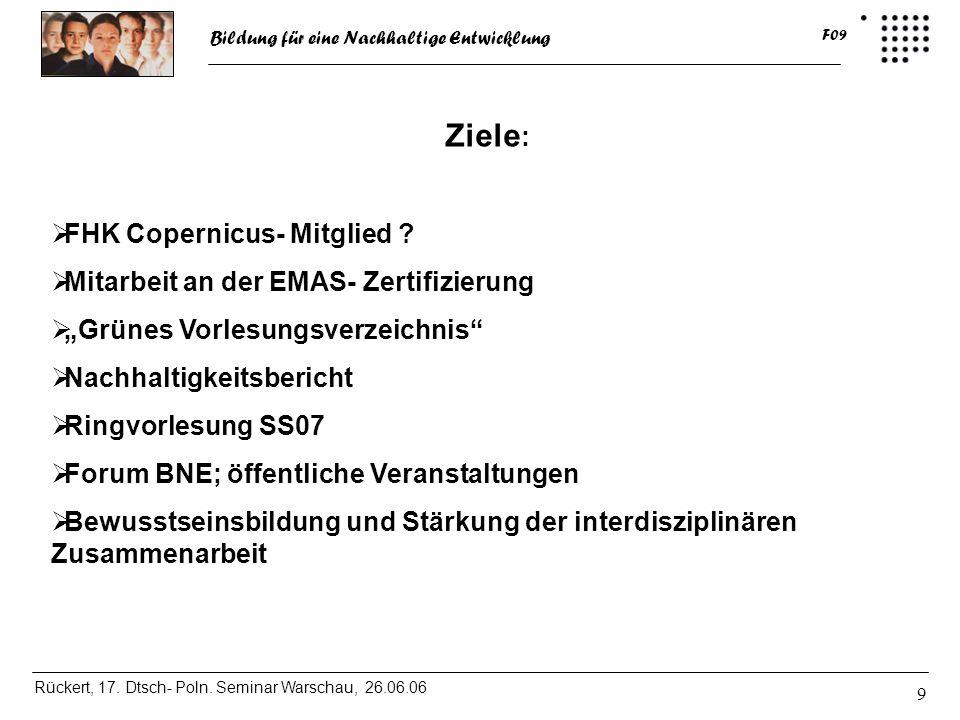 Ziele: FHK Copernicus- Mitglied