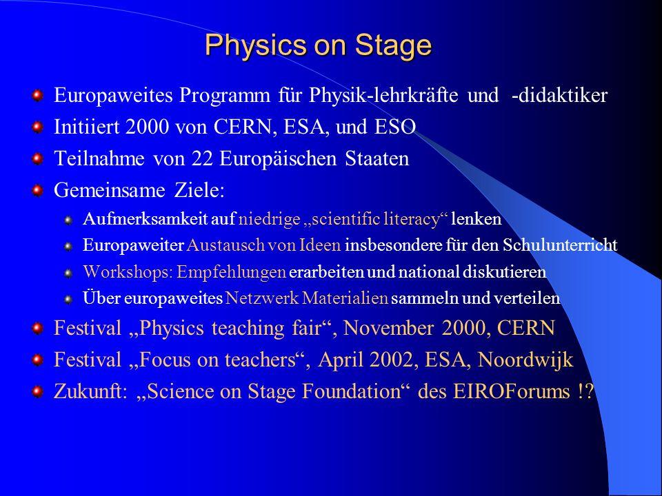 Physics on Stage Europaweites Programm für Physik-lehrkräfte und -didaktiker. Initiiert 2000 von CERN, ESA, und ESO.