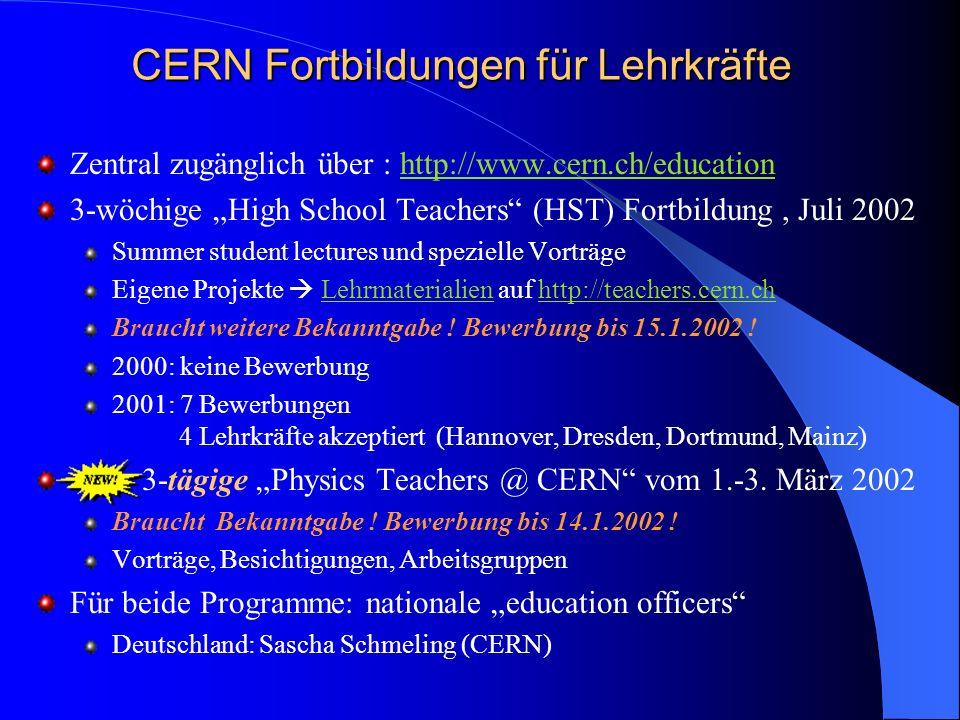 CERN Fortbildungen für Lehrkräfte