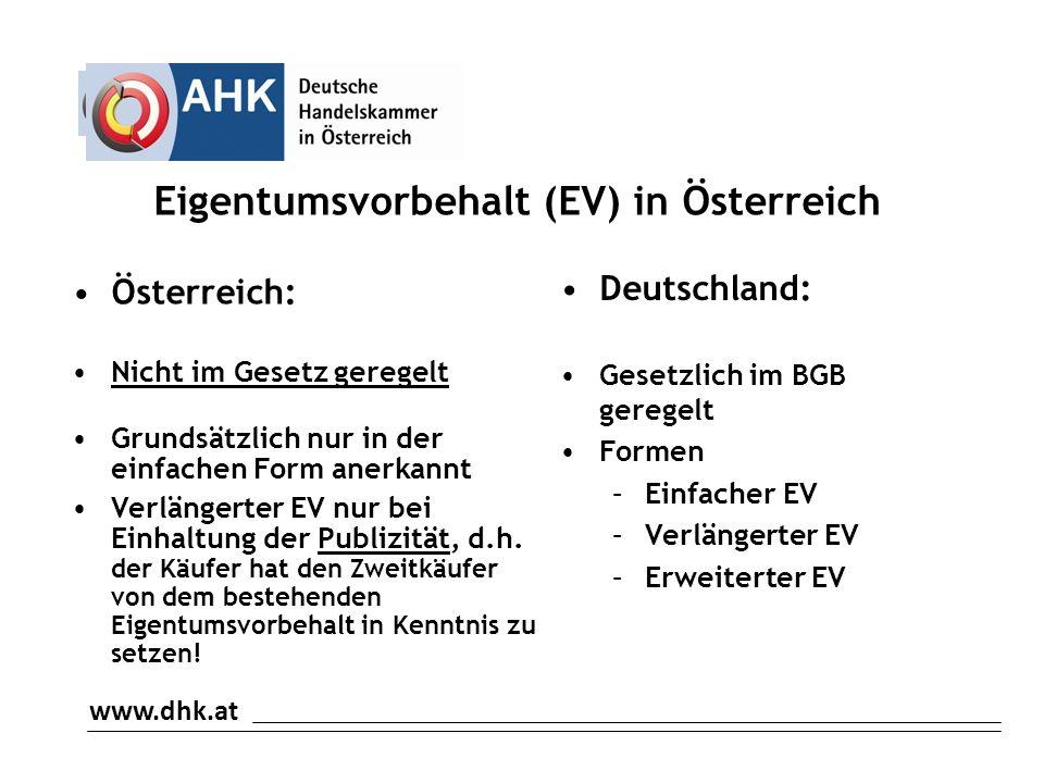 Eigentumsvorbehalt (EV) in Österreich