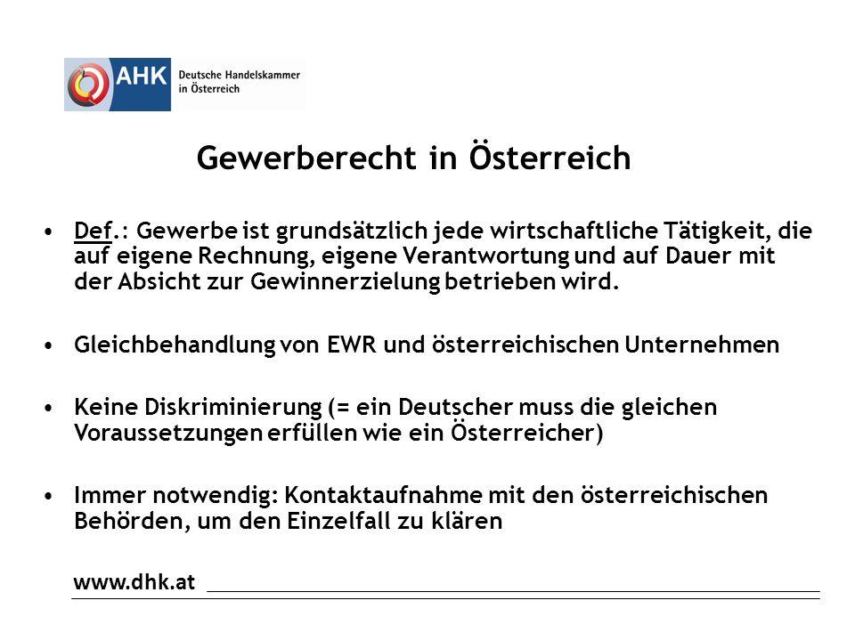 Gewerberecht in Österreich