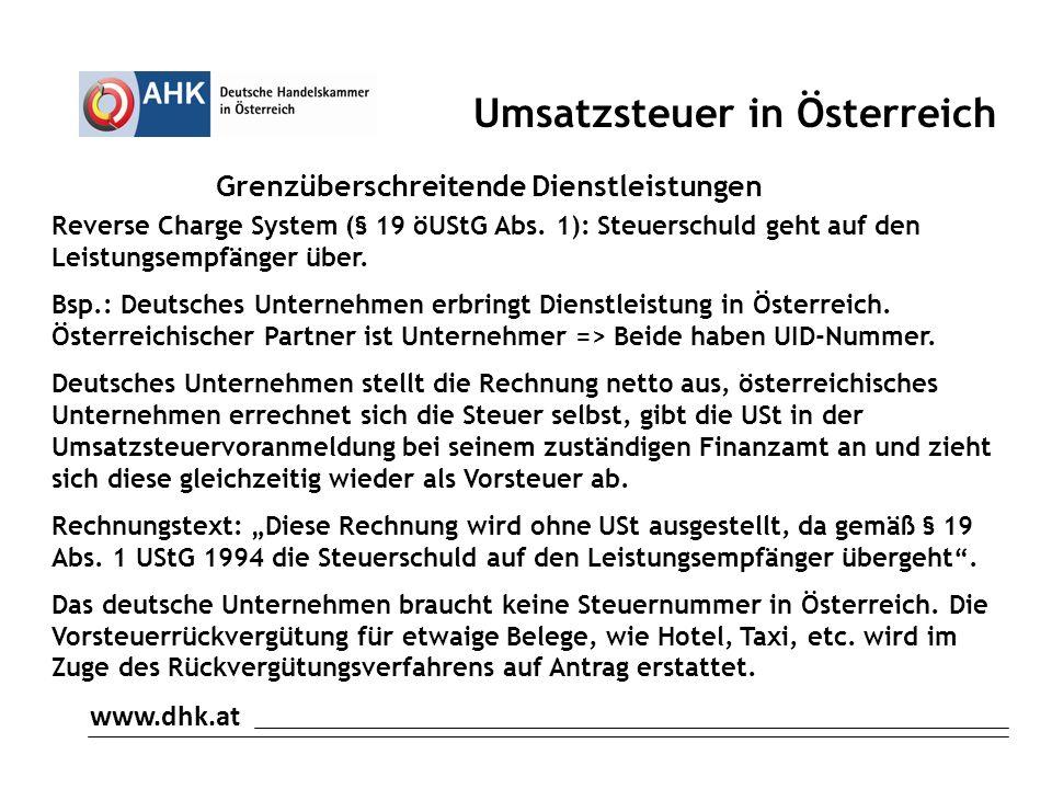 Umsatzsteuer in Österreich Grenzüberschreitende Dienstleistungen