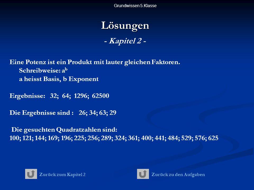 Grundwissen 5.Klasse Lösungen. - Kapitel 2 - Eine Potenz ist ein Produkt mit lauter gleichen Faktoren. Schreibweise: ab a heisst Basis, b Exponent.