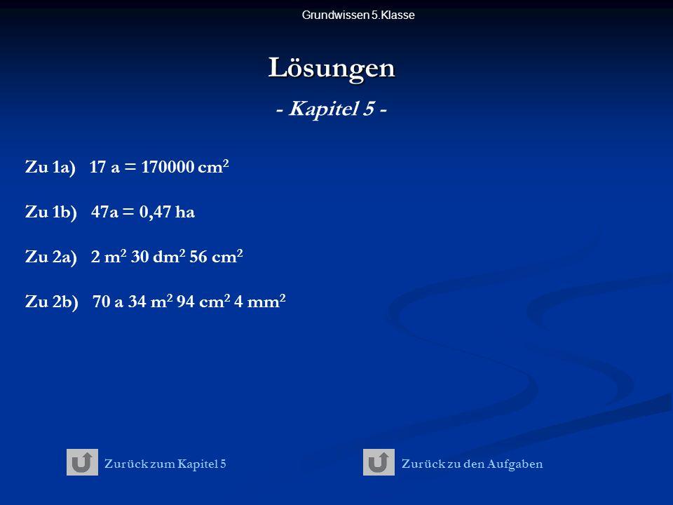 Lösungen - Kapitel 5 - Zu 1a) 17 a = 170000 cm2 Zu 1b) 47a = 0,47 ha