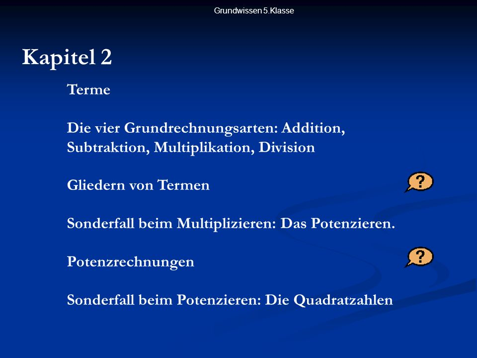 Grundwissen 5.Klasse Kapitel 2. Terme. Die vier Grundrechnungsarten: Addition, Subtraktion, Multiplikation, Division.