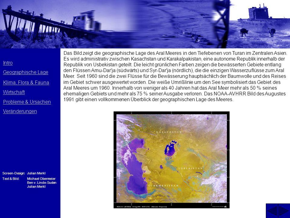 Das Bild zeigt die geographische Lage des Aral Meeres in den Tiefebenen von Turan im Zentralen Asien.