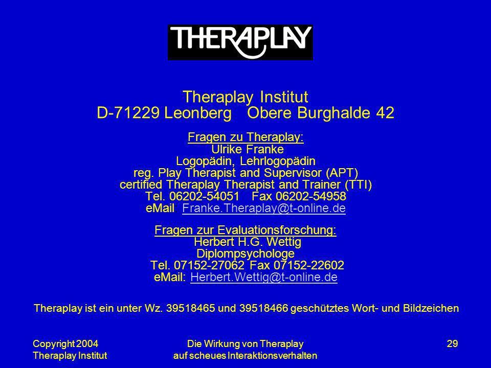 Die Wirkung von Theraplay auf scheues Interaktionsverhalten