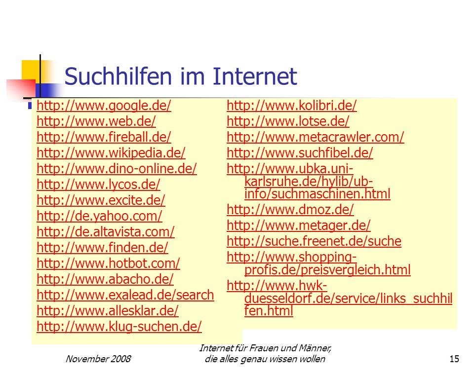 Suchhilfen im Internet