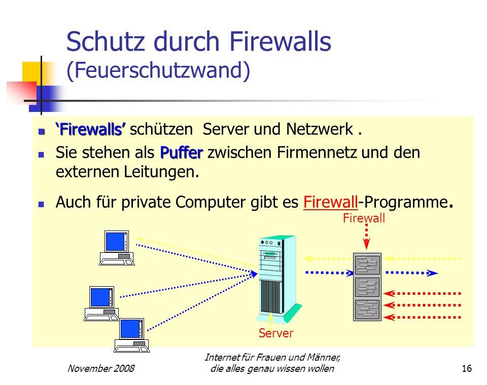 Schutz durch Firewalls (Feuerschutzwand)