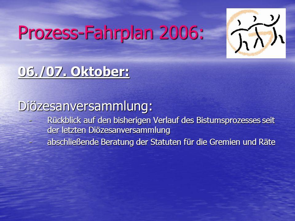 Prozess-Fahrplan 2006: 06./07. Oktober: Diözesanversammlung: